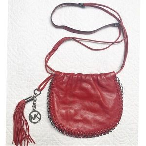Michael Kors Red Leather Saddlebag Chain Detail